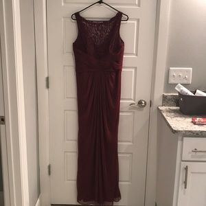 Maroon full length dress with lace accents